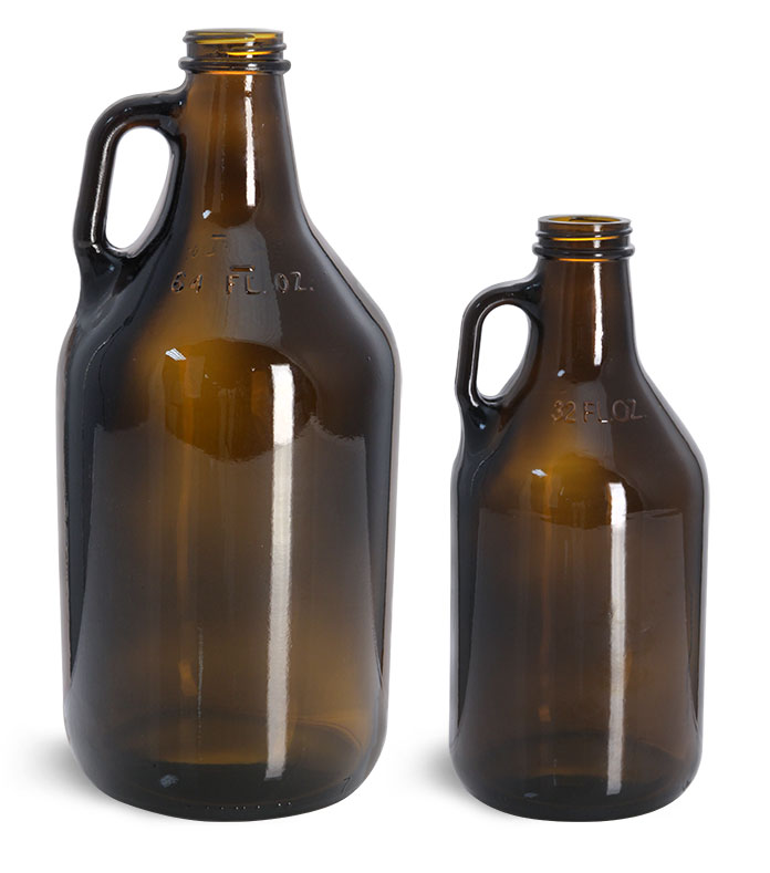 64 oz Amber Glass Round Growler Jugs (Bulk), Caps NOT Included