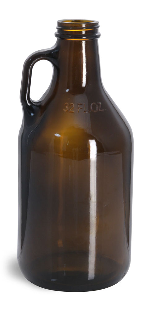 32 oz Amber Glass Round Growler Jugs (Bulk), Caps NOT Included