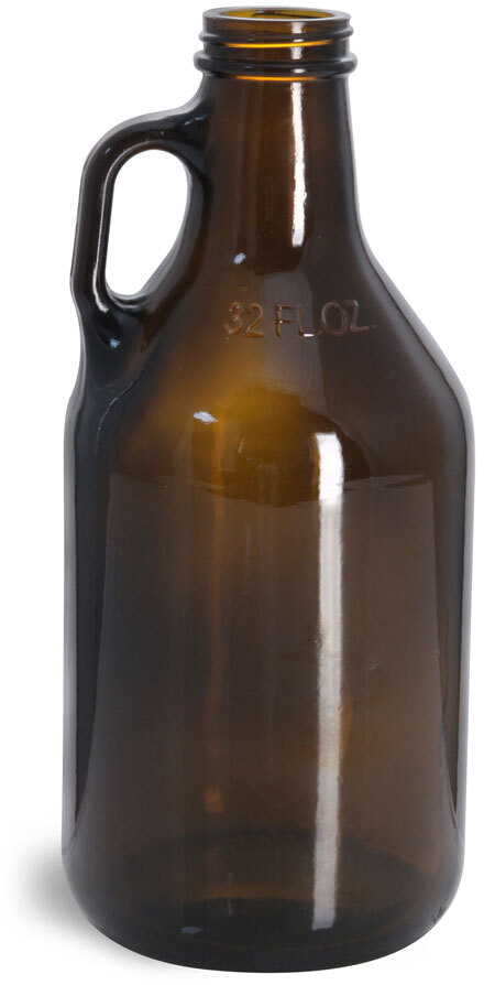 Amber Glass Round Growler Jugs (Bulk), Caps NOT Included