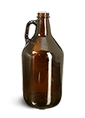 32 oz Amber Glass Round Growler Jugs