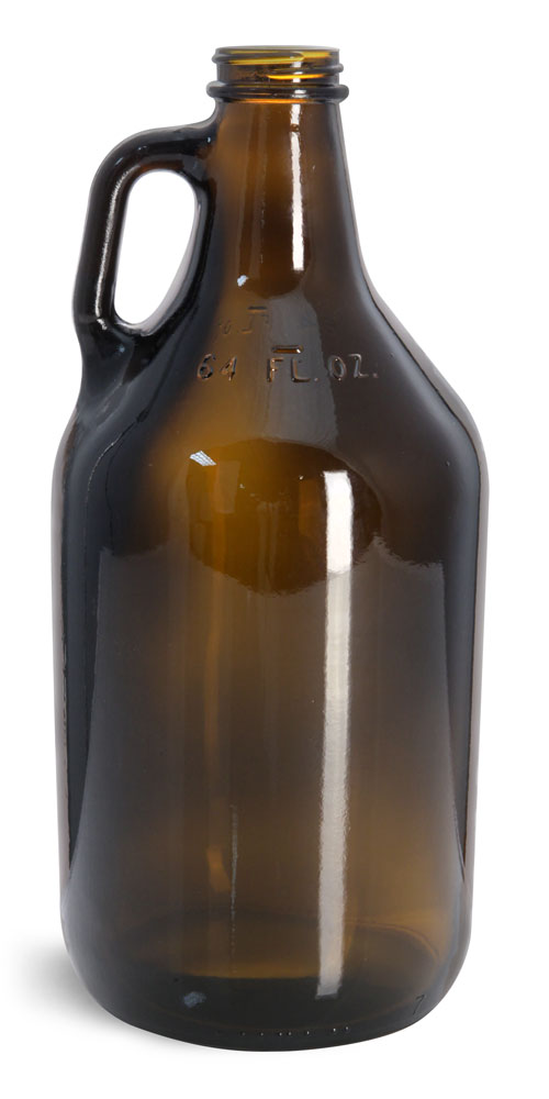64 oz  Round Growler Jugs (Bulk), Caps NOT IncludedAmber Glass