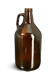 64 oz  Round Growler Jugs Amber Glass