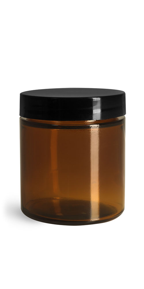 4 oz Amber Glass Straight Sided Jars w/ Smooth Black Lined Caps