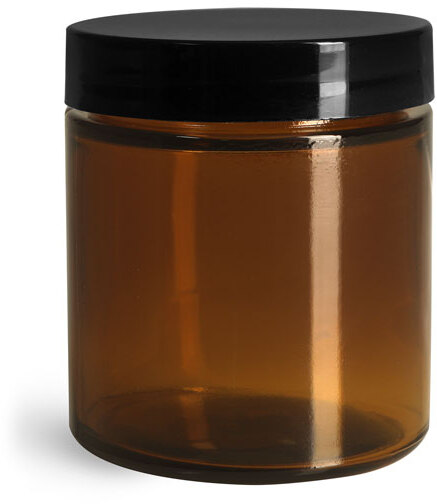 Amber Glass Straight Sided Jars w/ Smooth Black Lined Caps