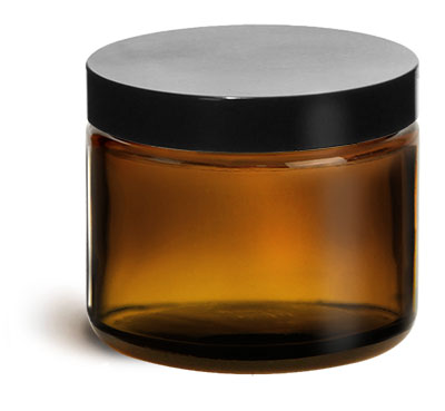 Glass Jars, Amber Glass Straight Sided Jars w/ Black Phenolic Lined Caps