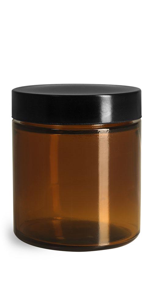 4 oz Amber Glass Straight Sided Jars w/ Black Phenolic PV Lined Caps