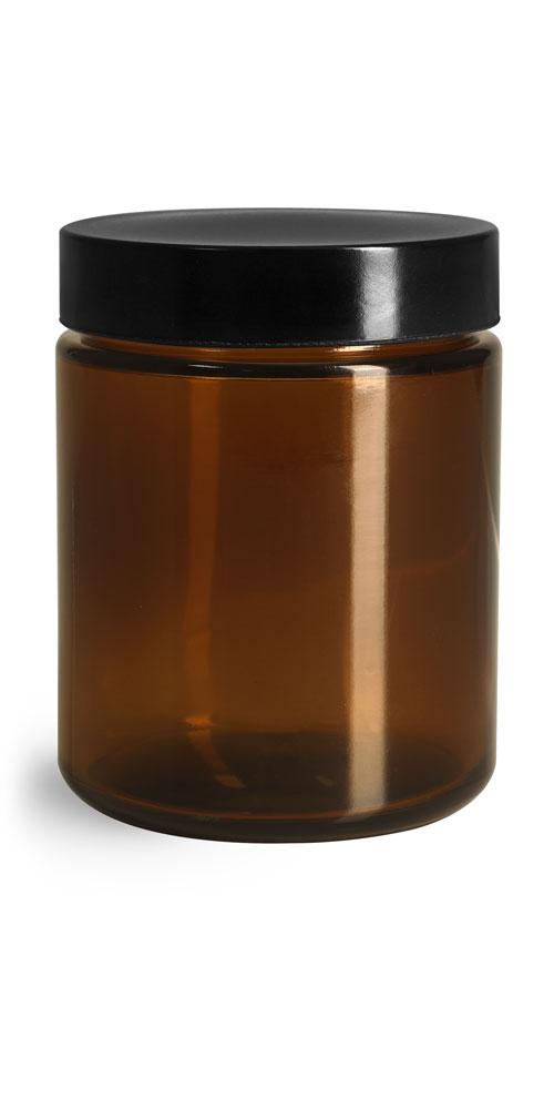8 oz Amber Glass Straight Sided Jars w/ Black Phenolic PV Lined Caps
