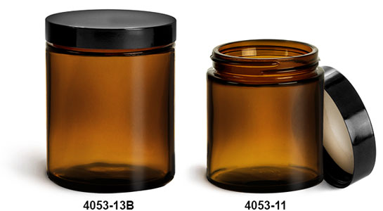 Glass Jars, Amber Glass Straight Sided Jars w/ Black Phenolic Teflon Lined Caps