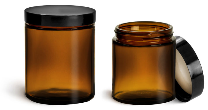 Glass Jars, Amber Glass Jars w/ Black Phenolic Teflon Lined Caps