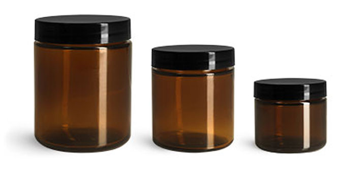 Glass Jars, Amber Glass Straight Sided Jars w/ Black Smooth Lined Caps
