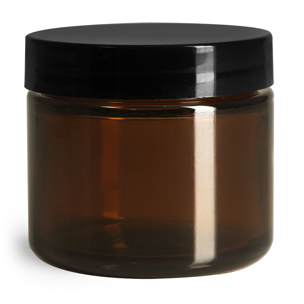 2 oz Amber Glass Straight Sided Jars w/ Smooth Black Lined Caps