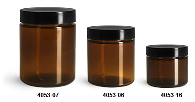 Glass Jars, Amber Glass Straight Sided Jars w/ Black Phenolic Lined Caps