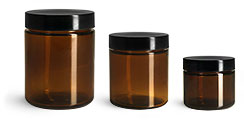 Glass Jars, Amber Glass Jars w/ Black Phenolic PV Lined Caps