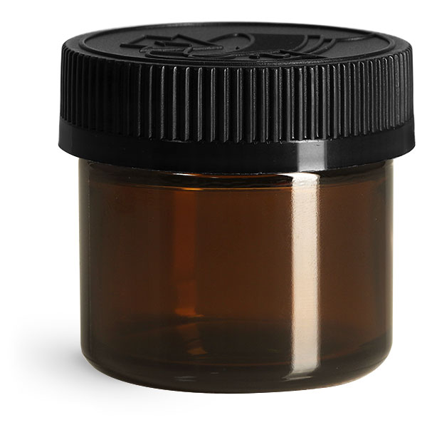 Glass Jars, Amber Glass Jars w/ Black Child Resistant Caps