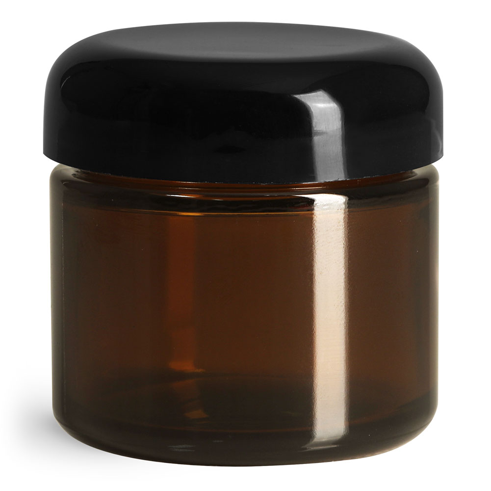 2 oz Glass Jars, Amber Glass Straight Sided Jars w/ Black Smooth Lined Dome Caps