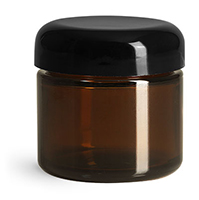 Glass Jars, Amber Glass Straight Sided Jars w/ Black Smooth Lined Dome Caps
