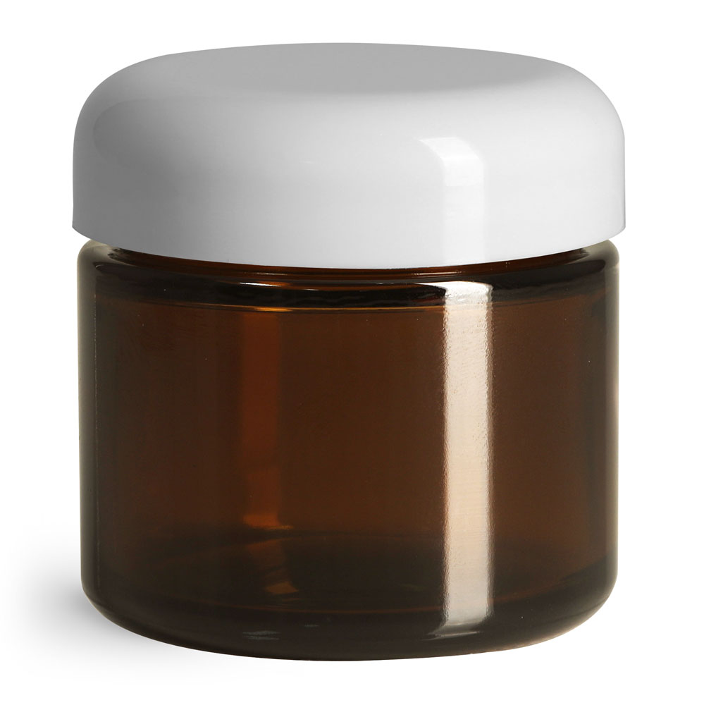 2 oz Glass Jars, Amber Glass Straight Sided Jars w/ White Polypro Smooth Lined Dome Caps