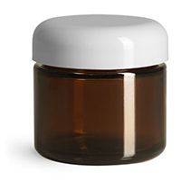 Glass Jars, Amber Glass Straight Sided Jars w/ White Smooth F217 Lined Dome Caps