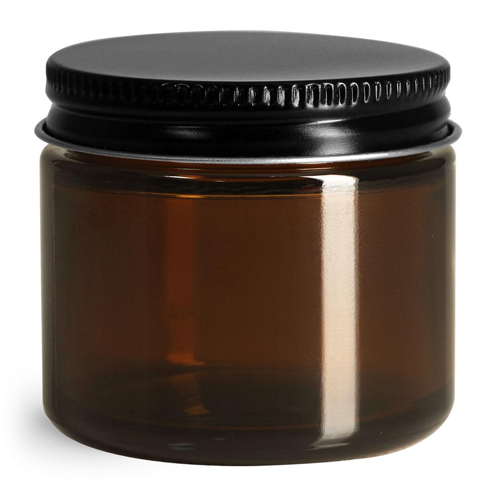 Glass Jars, Amber Glass Straight Sided Jars w/ Black Metal Foil Lined Caps