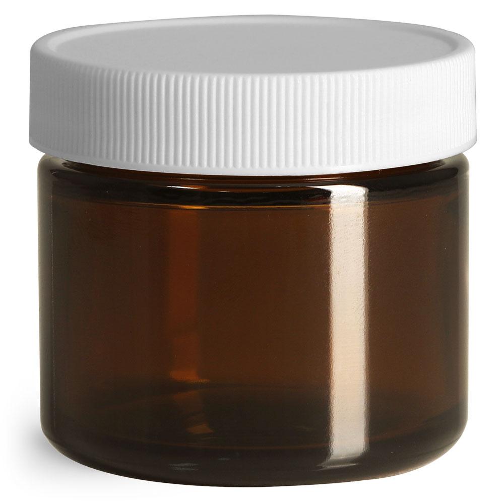 2 oz Glass Jars, Amber Glass Straight Sided Jars w/ White Ribbed Teflon Lined Caps