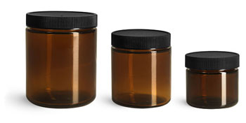 Glass Jars, Amber Glass Straight Sided Jars w/ Black Ribbed F217 Lined Caps