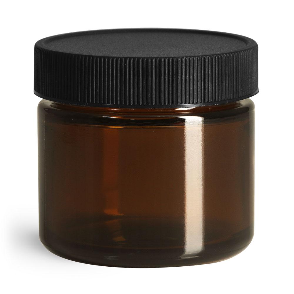 2 oz Glass Jars, Amber Glass Straight Sided Jars w/ Black Ribbed PE Caps