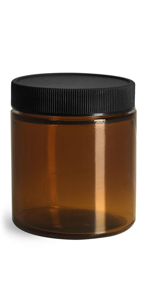 4 oz Glass Jars, Amber Glass Straight Sided Jars w/ Black Ribbed PE Caps