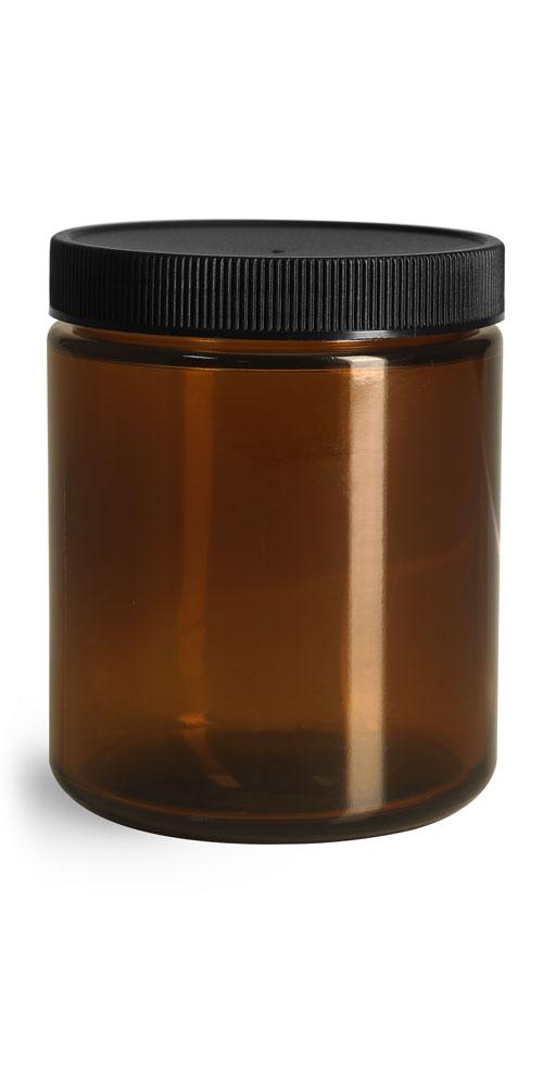 8 oz Glass Jars, Amber Glass Straight Sided Jars w/ Black Ribbed PE Caps