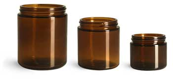 Glass Jars, Amber Glass Straight Sided Jars (Bulk), Caps NOT Included