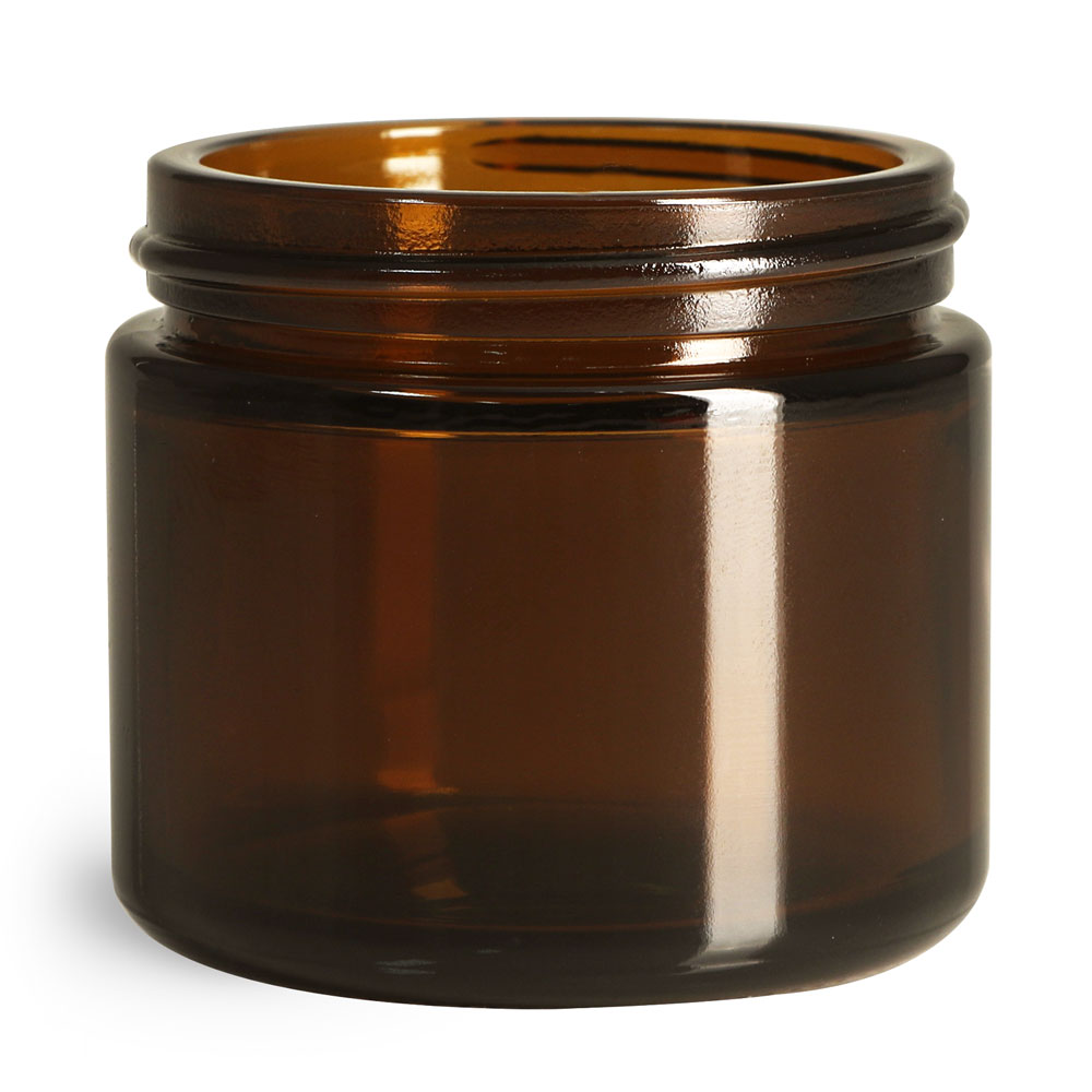 2 oz Amber Glass Straight Sided Jars, (Bulk) Caps NOT Included