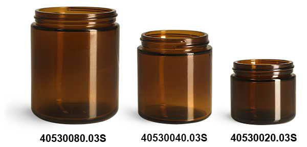 Amber Glass Straight Sided Jars, (Bulk) Caps NOT Included
