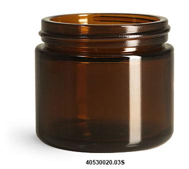 New Amber Glass Straight Sided Jar