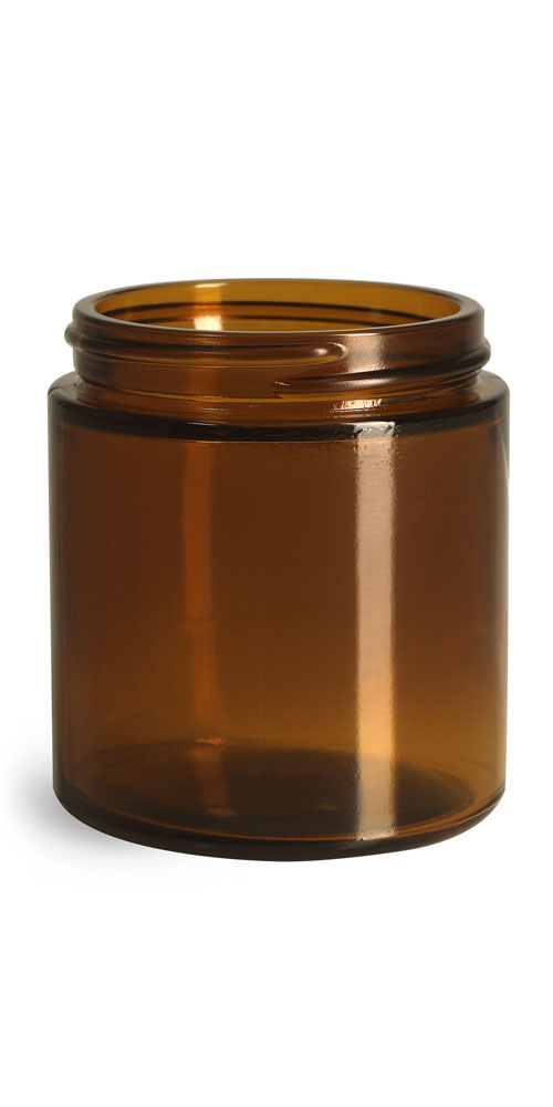 4 oz Amber Glass Straight Sided Jars, (Bulk) Caps NOT Included