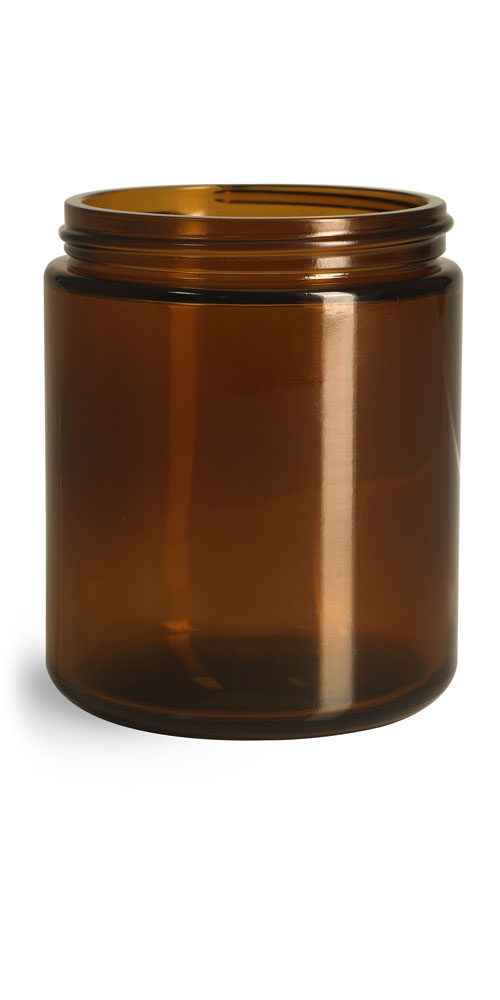 8 oz Amber Glass Straight Sided Jars, (Bulk) Caps NOT Included