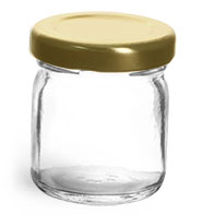 Clear Glass Jars, Clear Glass Jelly Jars With Gold Lug Caps