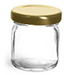 Clear Glass Jars, Clear Glass Jelly Jars w/ Gold Metal Caps