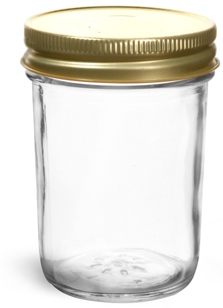 Clear Glass Jelly Jars w/ 70G Gold Metal Plastisol-Lined Caps