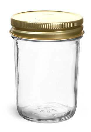Clear Glass Jars, 8 oz Clear Glass Jelly Jars w/ Gold Metal Plastisol Lined Caps