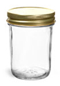Clear Glass Jars, Clear Glass Jelly Jars w/ 70G Gold Metal Plastisol-Lined Caps