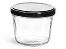 Clear Glass Wide Mouth Tapered Jars w/ Black Metal Lug Caps