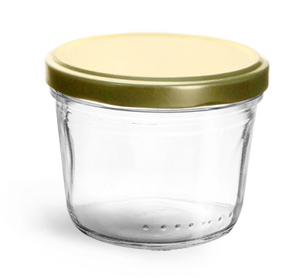 Clear Glass Jars, Clear Glass Wide Mouth Tapered Jars w/ Gold Metal Lug Caps