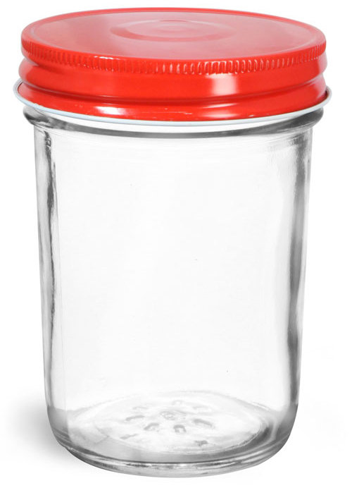 Clear Glass Jelly Jars w/ Red Metal Plastisol Lined Caps