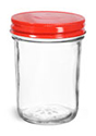 Clear Glass Jars, Clear Glass Jelly Jars w/ Red Metal Plastisol Lined Caps