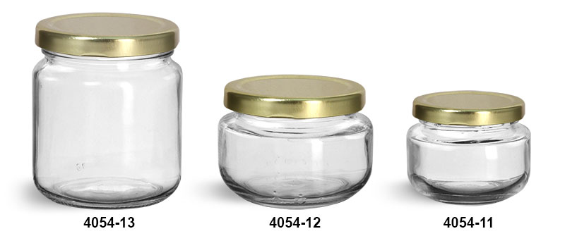 Clear Glass Jars, Clear Glass Wide Mouth Jars w/ Gold Metal Plastisol Lined Lug Caps