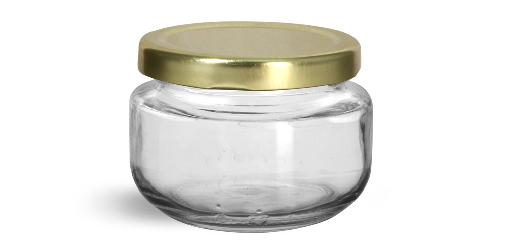 Glass Jars, Clear Glass Wide Mouth Jars w/ Gold Metal Plastisol Lined Lug Caps