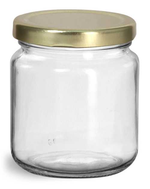 200 ml  Glass Jars, Clear Glass Wide Mouth Jars w/ Gold Metal Plastisol Lined Lug Caps