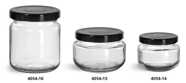 Clear Glass Jars, Clear Glass Wide Mouth Jars w/ Black Metal Plastisol Lined Lug Caps