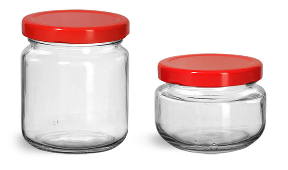 Clear Glass Jars, Clear Glass Wide Mouth Jars w/ Red Metal Plastisol Lined Lug Caps