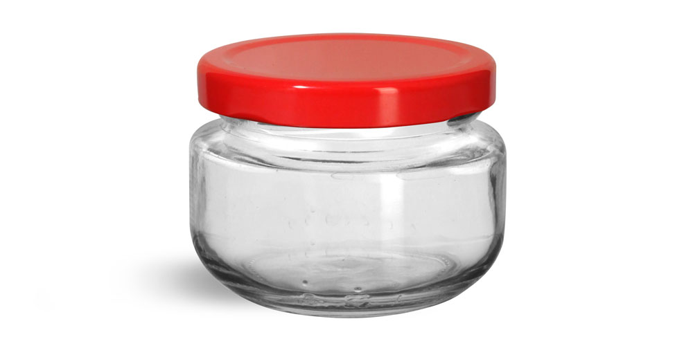 Glass Jars, Clear Glass Wide Mouth Jars w/ Red Metal Plastisol Lined Lug Caps