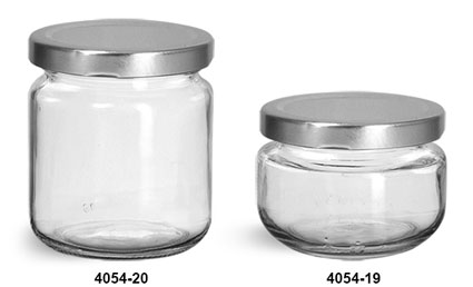 Clear Glass Wide Mouth Jars w/ Silver Metal Plastisol Lined Caps